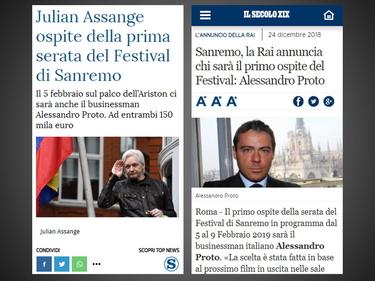 La bufala di Natale: Assange e Proto ospiti a Sanremo 2019 foto 2