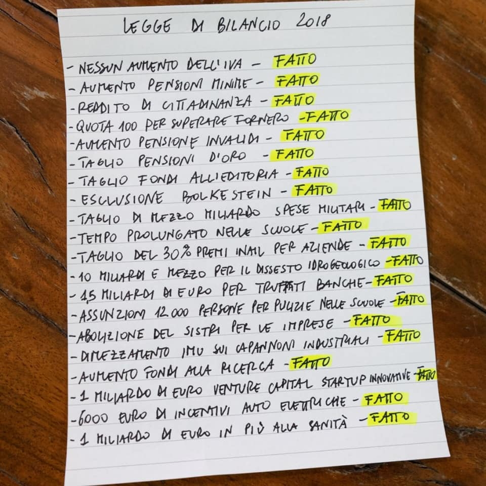 Legge di Bilancio: la lista dei non fatti di Di Maio foto 1