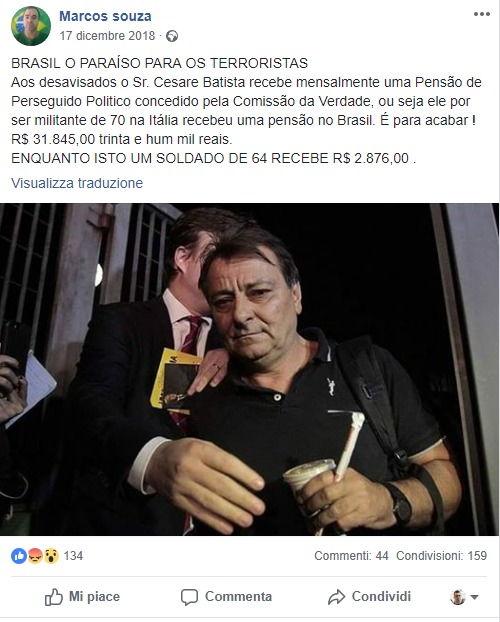 La bufala dei 16 mila euro mensili pagati a Cesare Battisti dai governi di sinistra foto 2