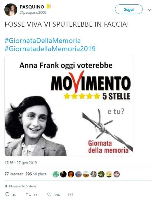Il meme di Anna Frank che voterebbe M5s è vero, ma l'autore si era scusato foto 1