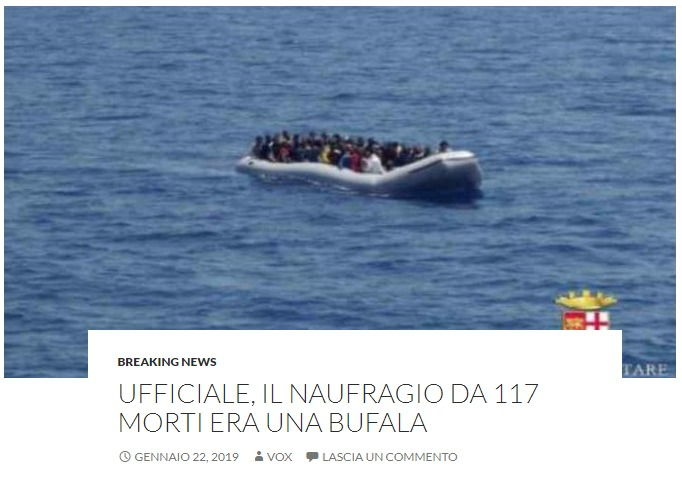 «Il naufragio dei 117 morti è una bufala». Macché, è questa la bufala foto 1