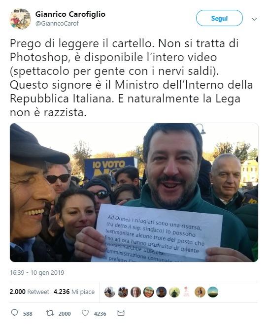 Salvini e il cartello che offende le donne di Ormea e i rifugiati foto 1