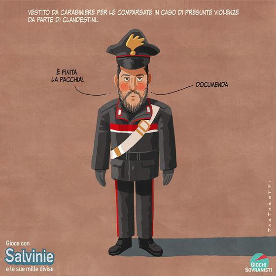«Salvini e i suoi accessori»: le illustrazioni satiriche di Stefano Tartarotti foto 1