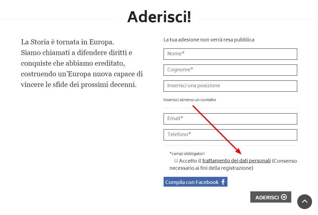 Il sito europeista di Carlo Calenda ha un piccolo problema di privacy foto 1