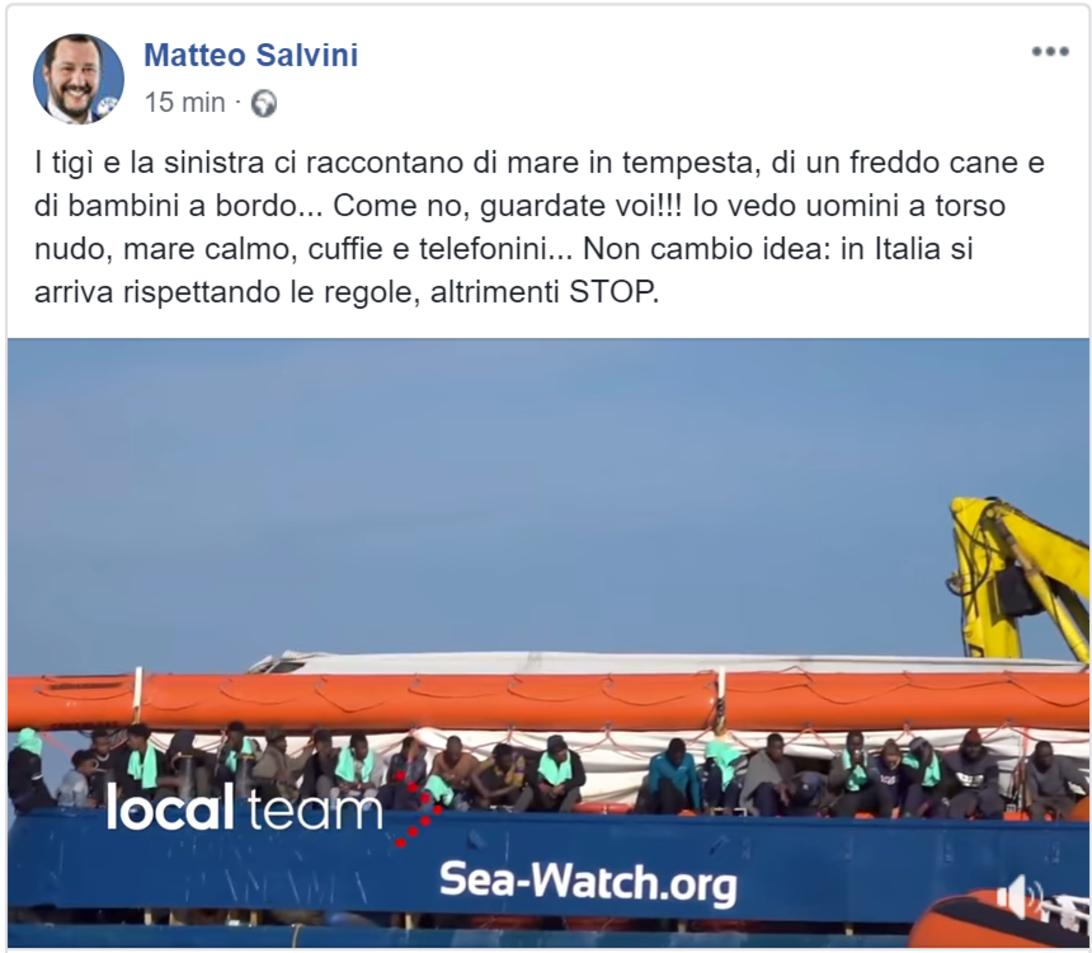Sea Watch, dalla staffetta del Pd al commento di Salvini: «A bordo, telefonini e ragazzoni a torso nudo» foto 1