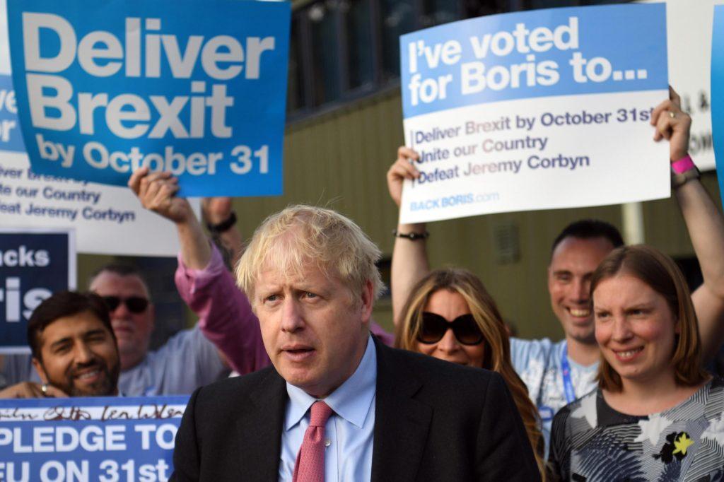 Boris Johnson durante la campagna per la leadership del partito conservatore