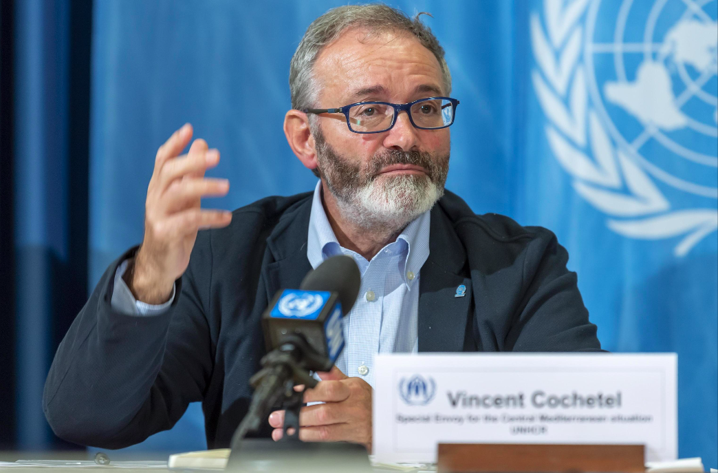 epa07927654 Vincent Cochetel, Special Envoy for the Central Mediterranean situation, speaks about the update on UNHCR's operations in the Central Mediterranean and in Libya, during a press conference, at the European headquarters of thed United Nations in Geneva, Switzerland, Thursday, October 17, 2019. EPA/MARTIAL TREZZINI