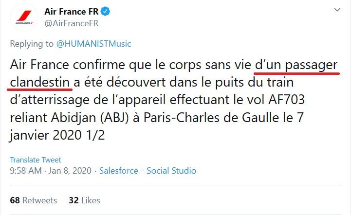 E' un 14enne l'ivoriano trovato morto sul volo Air France