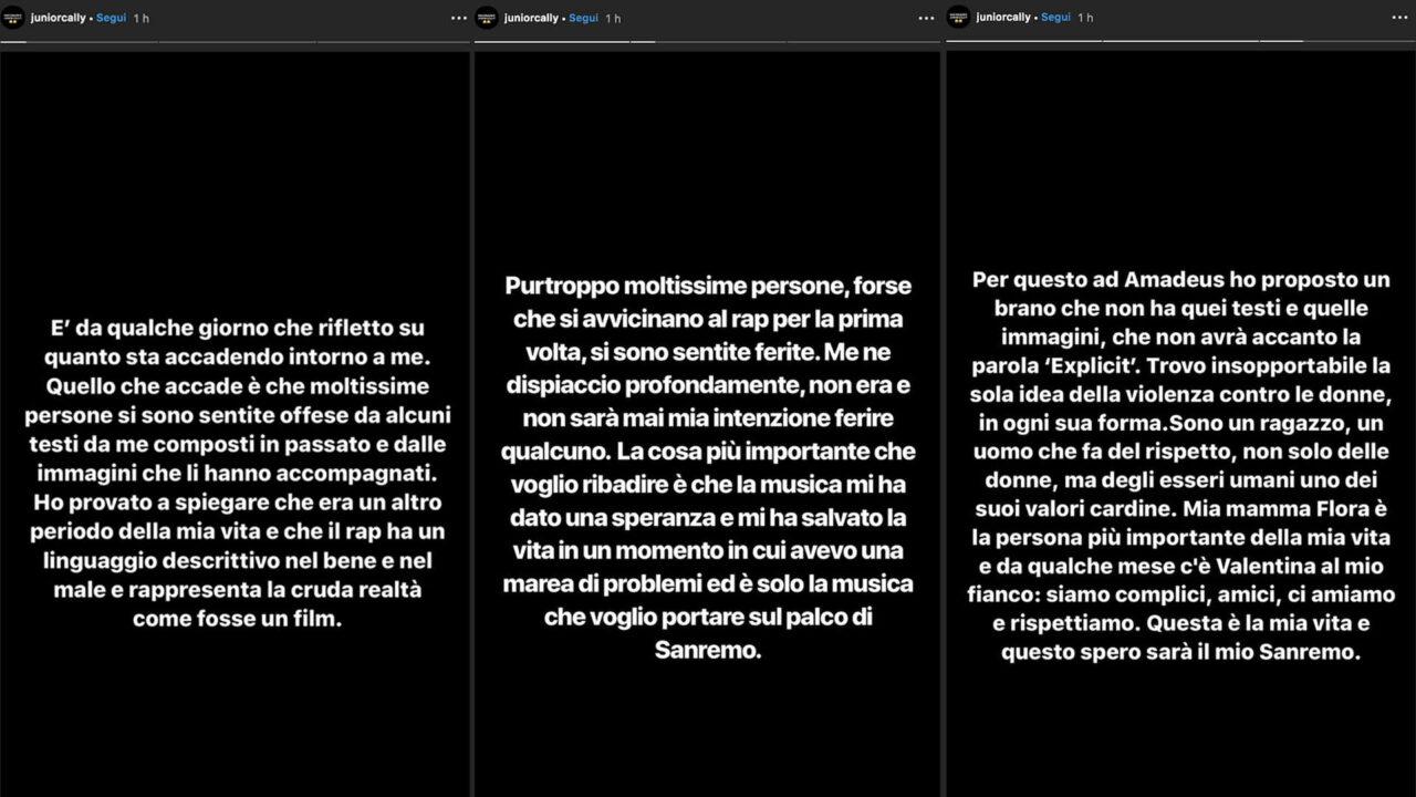 Sanremo 2020 |  Junior Cally rompe il silenzio |  «Non sopporto la violenza sulle donne |  mi