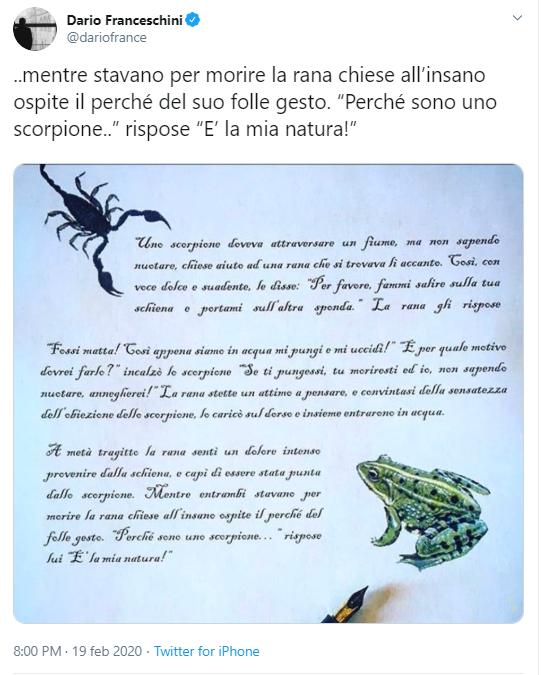 Franceschini, Renzi? È lo scorpione che uccide la rana