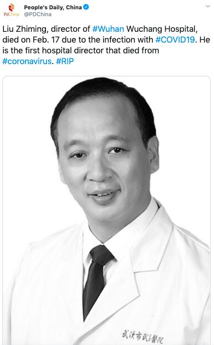 Coronavirus, è morto il direttore dell'ospedale di Wuhan