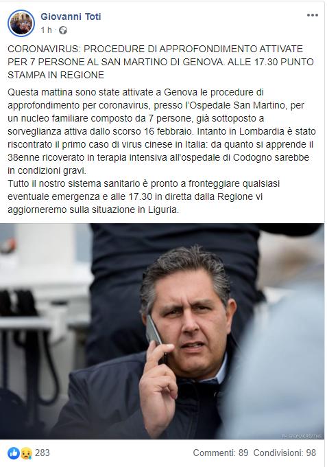 Coronavirus: Genova, sospetto contagio per una famiglia di q