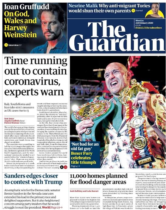 L'emergenza italiana per il coronavirus in apertura su tutti