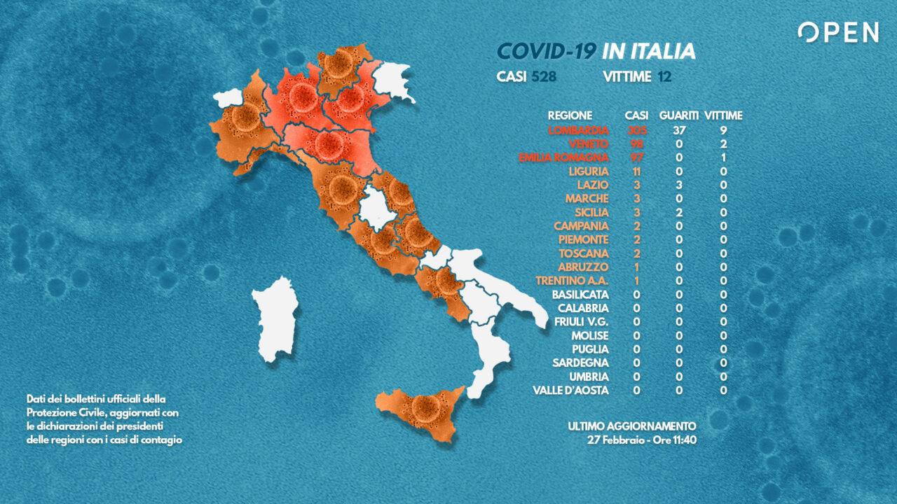 Coronavirus, ultime notizie: 14 morti in Italia, 528 contagi