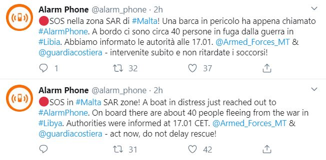 Migranti in fuga dalla Libia, 40 persone in pericolo al largo di Malta. ...