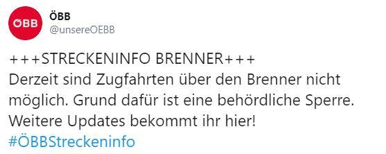 Austria: revocato il blocco ferroviario al Brennero