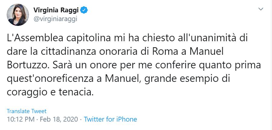 Roma darà la cittadinanza onoraria a Manuel Bortuzzo: «Esempio di coraggio e tenacia»