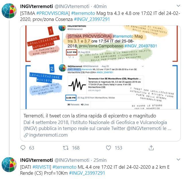 Terremoto, scossa di magnitudo 4.4 nel Cosentino
