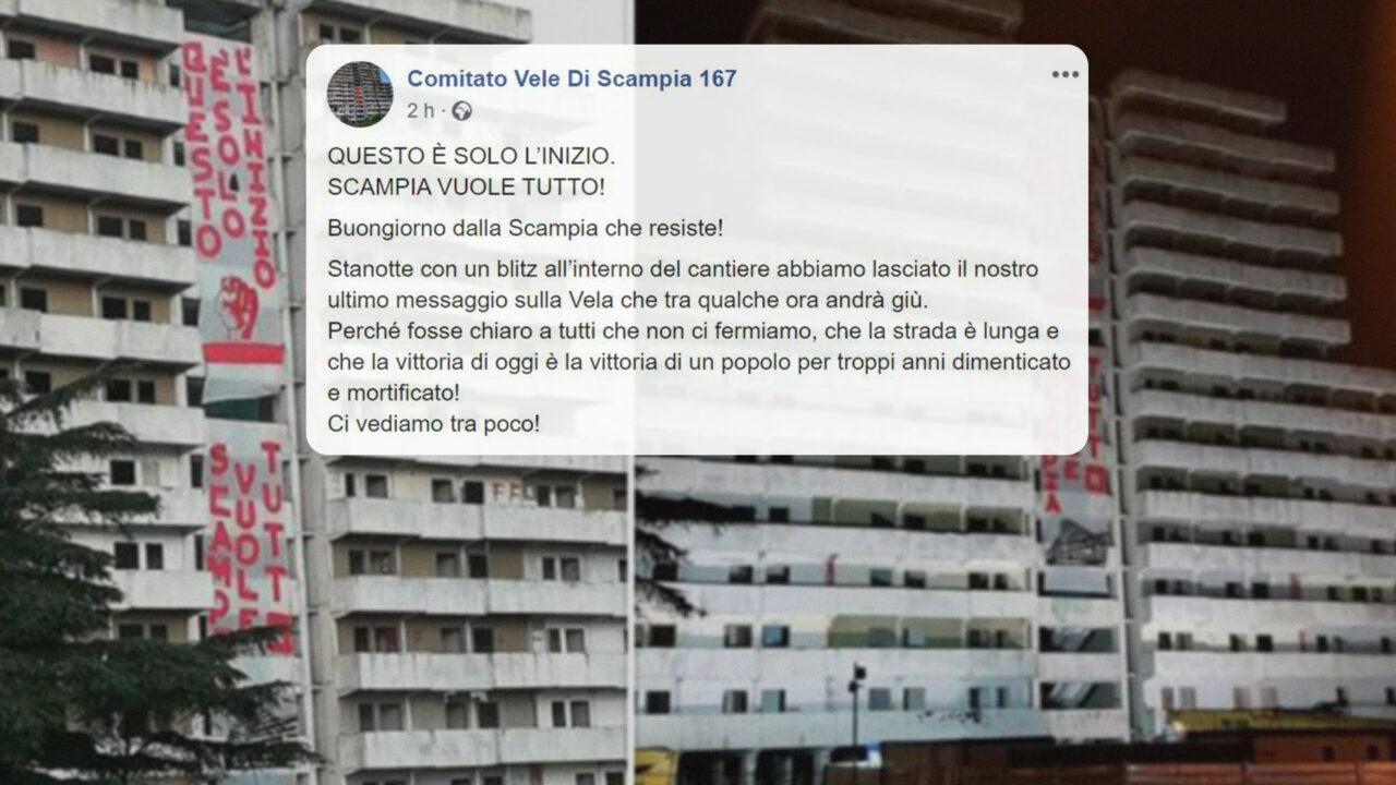 Napoli, in corso la demolizione della Vela Verde di Scampia