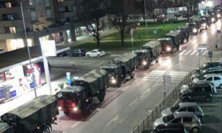 Coronavirus: colonna mezzi militari a Bergamo con feretri