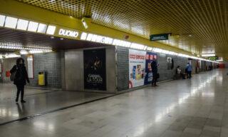 La stazione della fermata Duomo vuota a causa dell'emergenza del coronavirus, Milano 25 febbraio