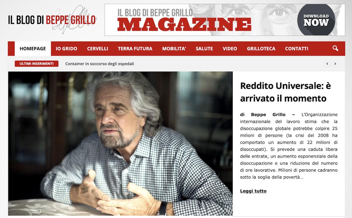 Coronavirus, Grillo lancia l'idea del reddito universale per