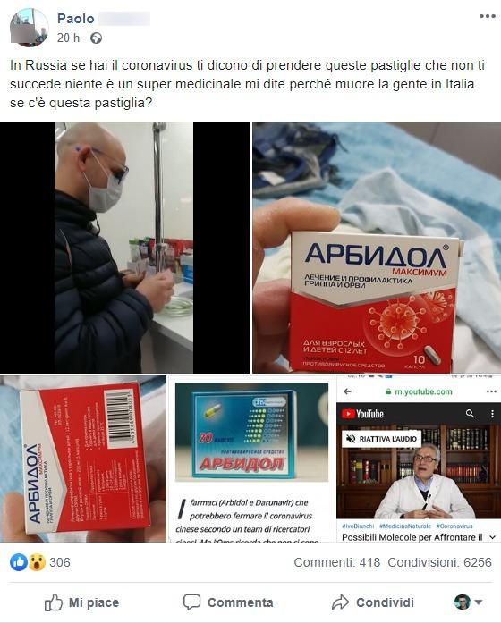 farmaco russo coronavirus