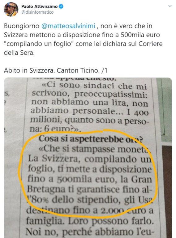 Coronavirus. Salvini propone di stampare moneta e cita come
