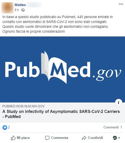 Coronavirus. Uno studio dimostra che gli asintomatici non so