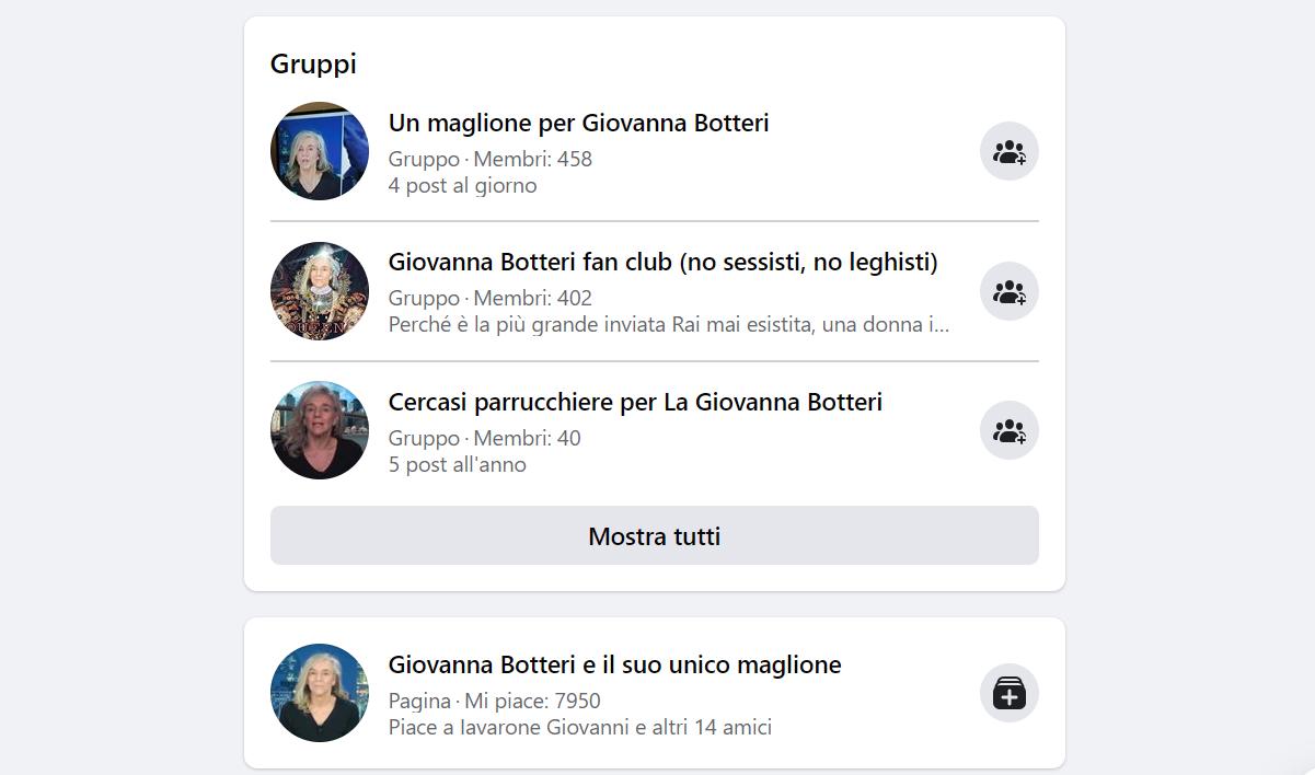 Alcuni dei gruppi Facebook sulla giornalista