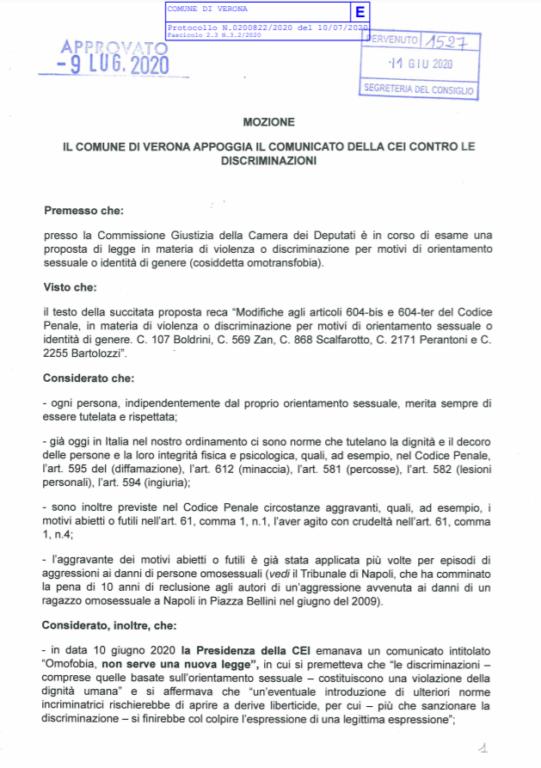 A Verona approvata la mozione contro la legge sull'omotransf
