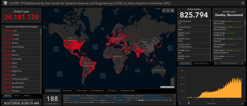 Johns Hopkins University   Mappa Covid-19 (27 agosto 2020)