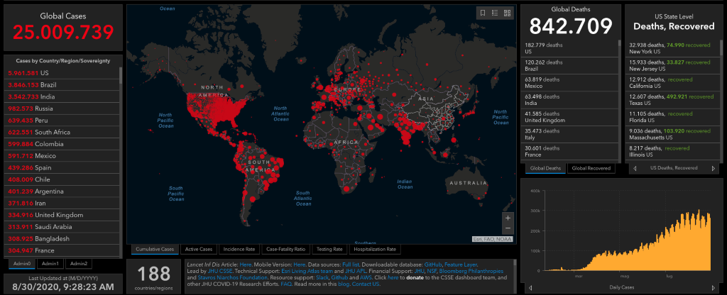 Johns Hopkins University | Mappa Covid-19 (30 agosto 2020)