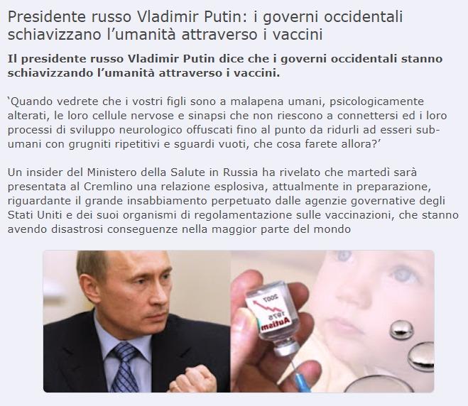 Il vaccino di Putin contro la Covid19, tilt bufalaro dei NoVax: «Un placebo per fregare Oms e Bill Gates»