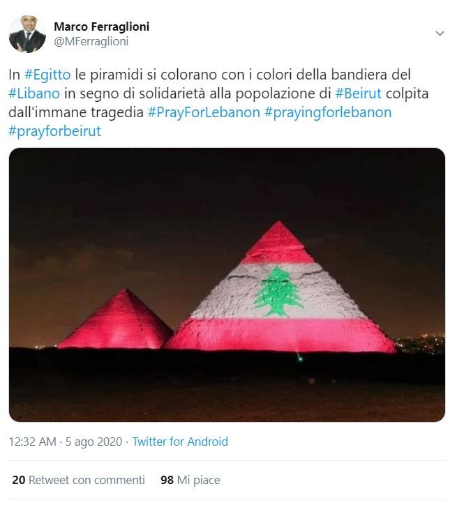Esplosione Beirut. Le false foto delle piramidi di Giza con la bandiera del Libano in segno di solidarietà