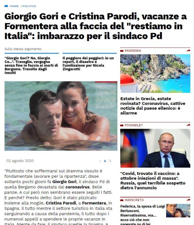 Giorgio Gori e Cristina Parodi volano a Formentera? La narrativa tra foto datate e titoli ingannevoli