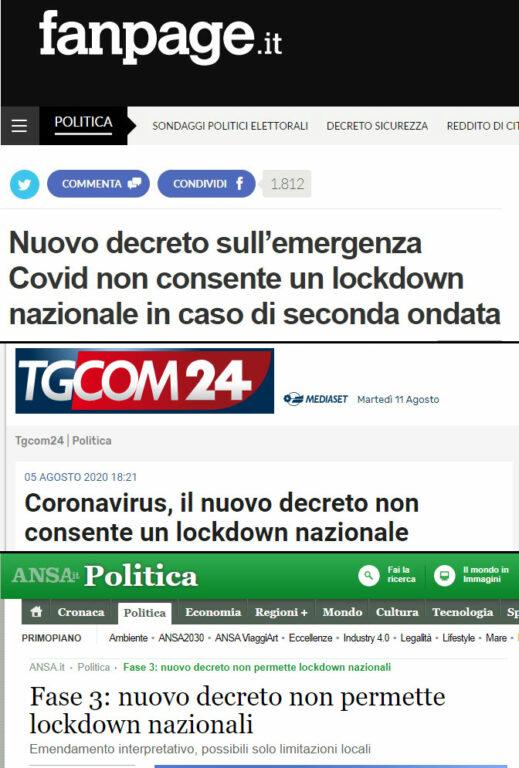 Il nuovo decreto sull'emergenza Covid non consente un lockdown nazionale? Non è affatto così, al momento