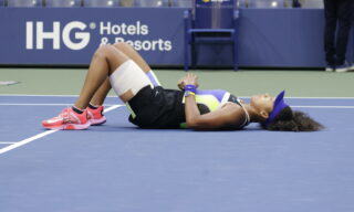 epa08665451 Naomi Osaka of Japan reacts after defeating Victoria Azarenka of Belarus to win the Women's Final match on the thirteenth day of the US Open Tennis Championships the USTA National Tennis Center in Flushing Meadows, New York, USA, 12 September 2020. Due to the coronavirus pandemic, the US Open is being played without fans and runs from 31 August through 13 September.  EPA/JASON SZENES