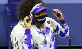 epa08651822 Noami Osaka of Japan wears a Trayvon Martin mask before her match against Anett Kontaveit of Estonia during the seventh day of the US Open tennis championships at the USTA National Tennis Center in Flushing Meadows, New York, USA, 06 September 2020. Due to the coronavirus pandemic, the US Open is being played without fans and will run from 31 August through to 13 September 2020.  EPA/JASON SZENES