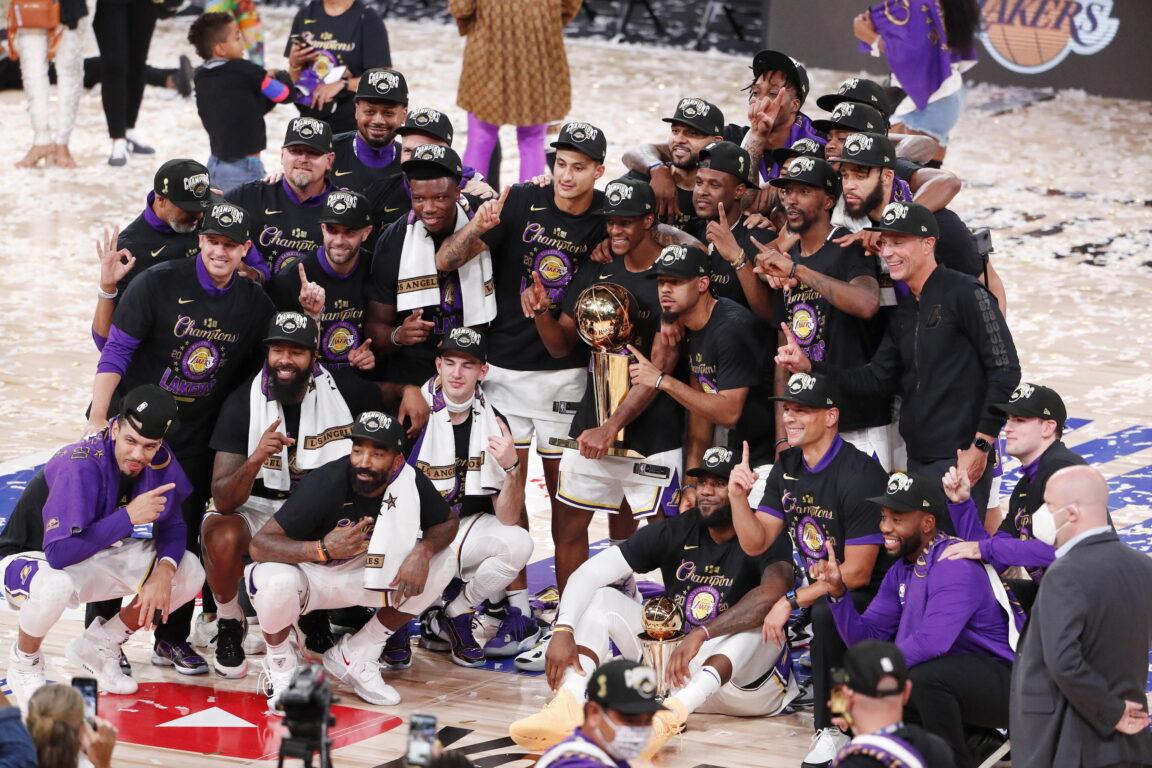 La festa dei Los Angeles Lakers dopo la vittoria del titolo Nba contro i Miami Heat a Orlando, Florida, Usa