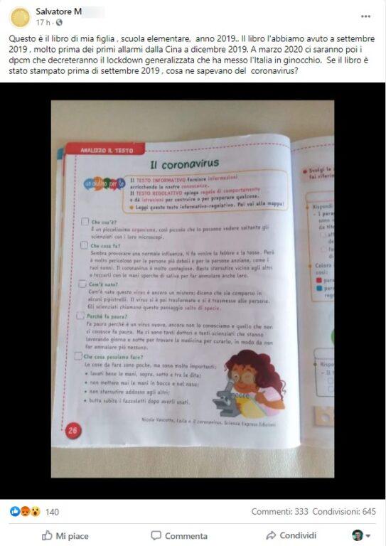 Coronavirus, il libro delle scuole elementari che aveva predetto il virus? La solita panzana