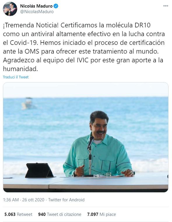Coronavirus. La molecola DR10 e la fantomatica cura di Nicolas Maduro alla Covid 19 non testata sull'uomo