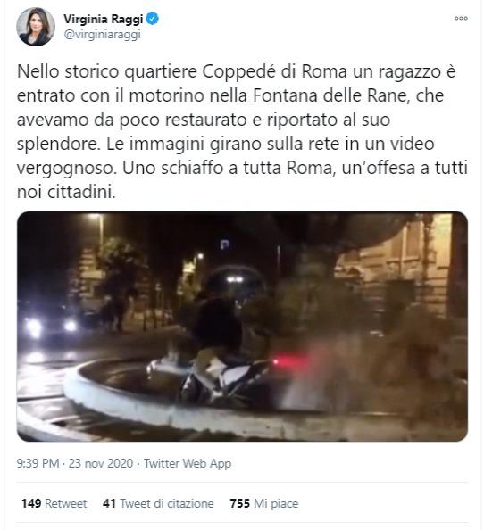 Roma, il video del motorino nella Fontana delle Rane non è del 2020