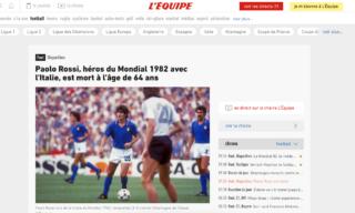 Il ricordo di Paolo Rossi del quotidiano sportivo francese L'Equipe