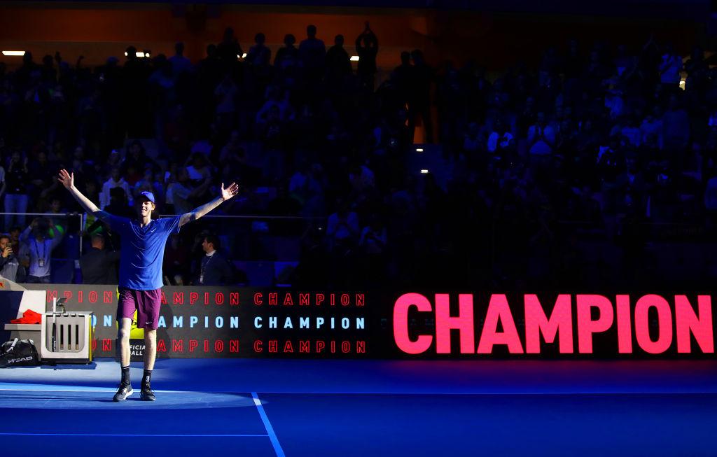 Jannik Sinner celebra la vittoria contro Alex de Minaur alle Next Gen ATP Finals. 9 Novembre 2019, Milano