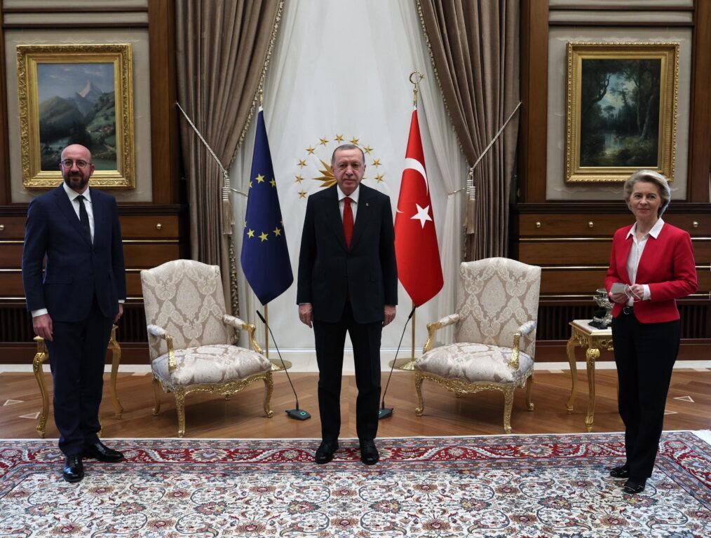 Charles Michel, Recep Tayyip Erdogan e Ursula von der Leyen