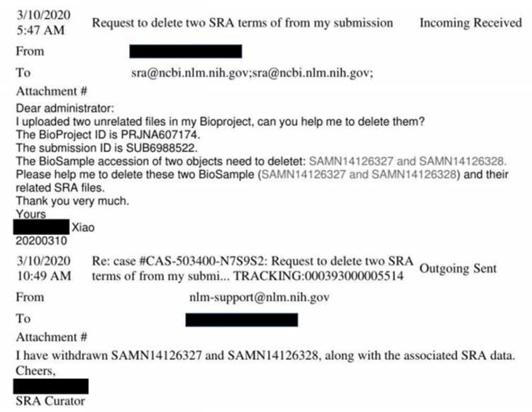Email di richiesta di rimozione dal database SRA