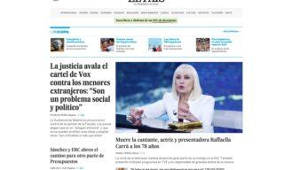 La notizia della morte di Raffaella Carrà su El Pais