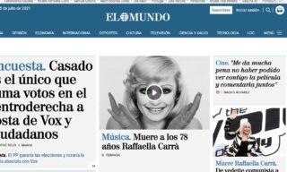 La notizia della morte di Raffaella Carrà su El Mundo