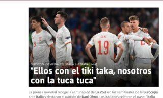 La home page del quotidiano As dopo la sconfitta della Spagna contro l'Italia